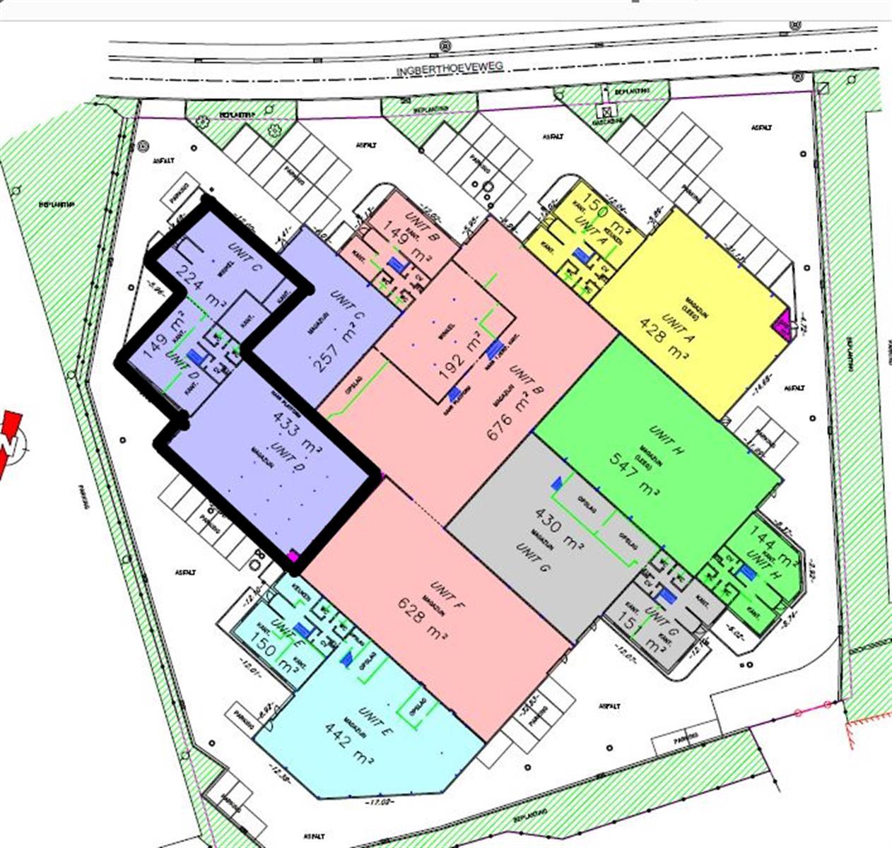 gebouw voor gemengd gebruik te huur UNIT C-D : MAGAZIJN 433 m² MET KANTOOR 373 m² Ingberthoeveweg 3